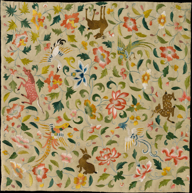 A beautiful tapestry with animals and flowers from the 12-14 century