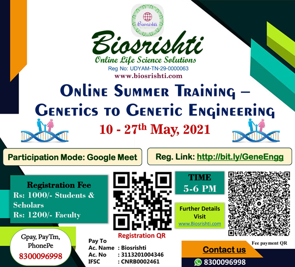 Biosrishti Online Summer Training – Genetics to Genetic Engineering | 10 - 27th May, 2021