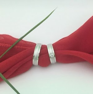 Cincin custem cincin garis silver perak lapis rhodium couple cincin kawin