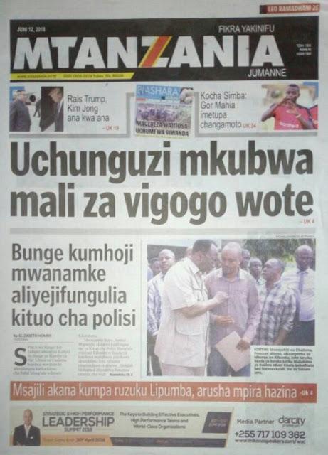 Magazeti ya leo Jumanne June 12,2018