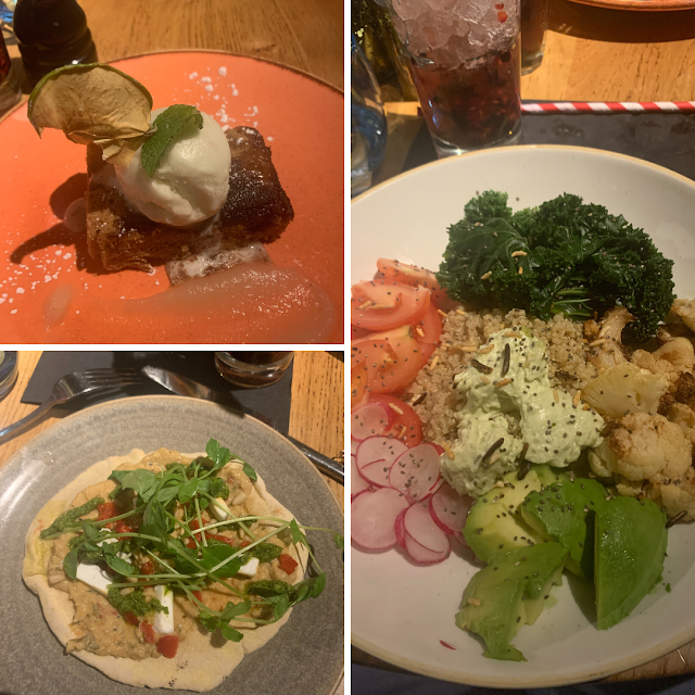 Top photo is a brownie topped with ice cream. The bottom left is a flat bread with vegetable. The main photo is a bowl of salad with avocado, cauliflower, radishes, quinoa, tomatoes.