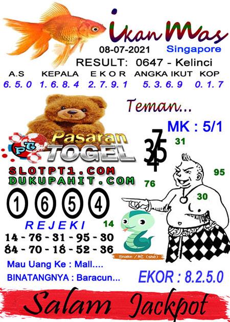 Syair Ikan Mas SGP Kamis 08-07-2021