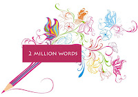 graphic with pencil, butterfly, 2 million words text