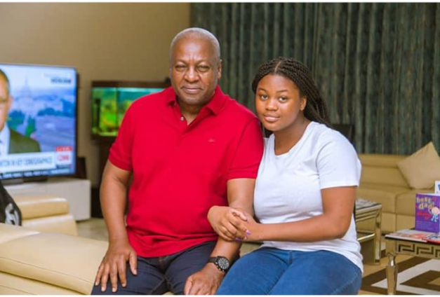 Mahama cruises in town with his daughter, Farida