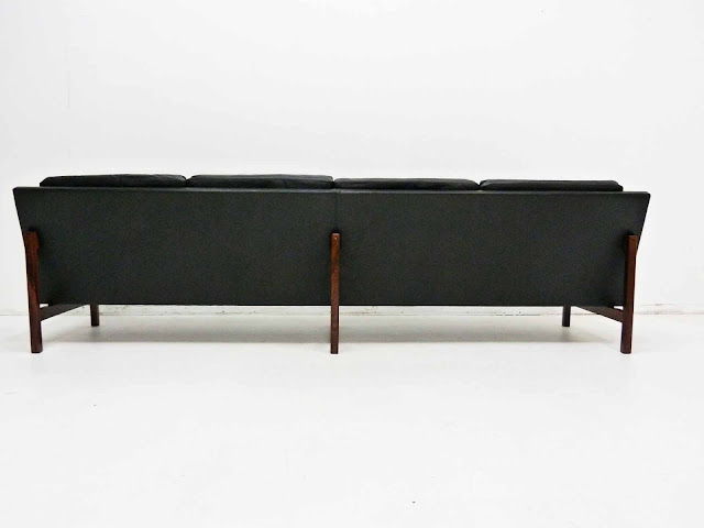 Sven Ellekaer Danish Modern Rosewood & Leather Sofa 5
