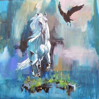 Ayoellploger, White horse, den hvide hest, horselove, landskab, abstrakt, figurative, horse, hest, bestilling, nature, painting, maler, salg, galleri, Gallery,