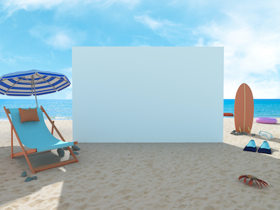 3D Empty banner on a beach background