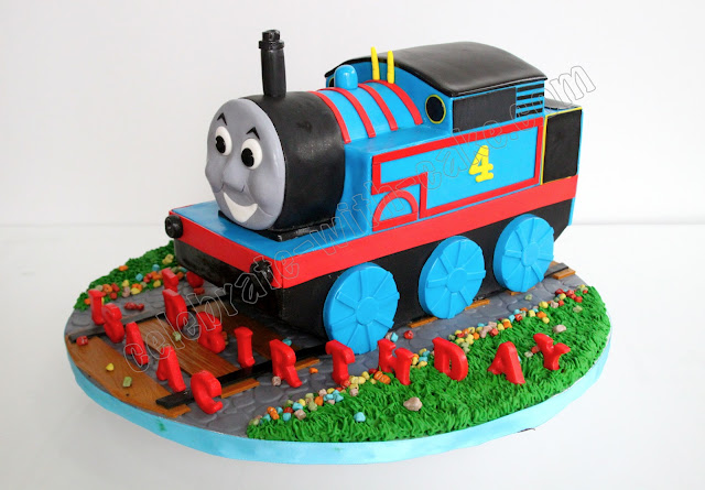Sculpted Thomas The Tank Engine Cake