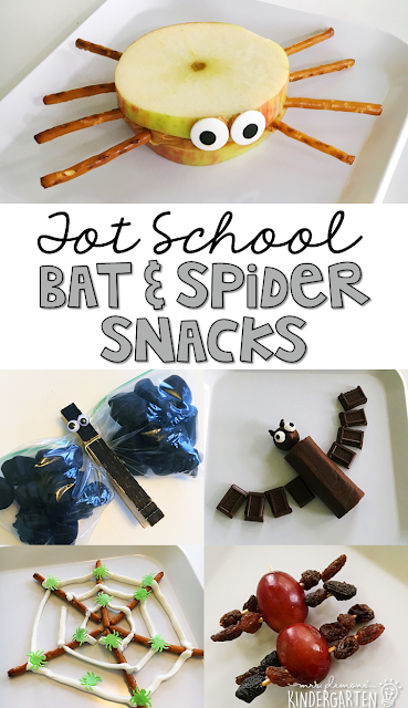 These adorable and yummy themed snacks are perfect for a bat & spider theme in tot school, preschool, or kindergarten!