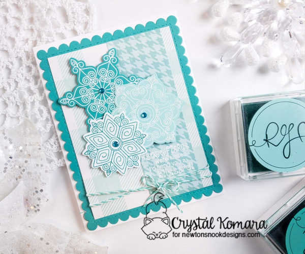 If snowflakes were kisses by Crystal features Houndstooth, Beautiful Blizzard and Frames & Flags by Newton's Nook Designs; #newtonsnook, #winter, #cardmaking