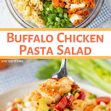EASY BUFFALO CHICKEN PASTA SALAD