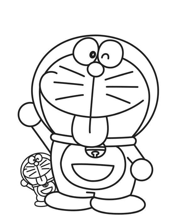 Tranh cho bé tô màu Doraemon thè lưỡi