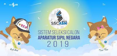 "Registrasi CPNS 2019 dilakukan lewat portal sscasn. bkn. go. id, sedangkan itu pada CPNS 2018 partisipan mendaftar lewat portal sscn. bkn. go. id.  Pergantian metode registrasi tersebut di informasikan oleh Kepala Biro Humas Tubuh Kepegawaian Negeri( BKN), Muhammad Ridwan dikala ditemui di Gedung BKN, Jakarta pada Jumat( 21/ 6/ 2019), lalu.  "" Registrasi online tahun ini lewat sscasn. bkn. go. id, jika rekrutmen CPNS 2018 lalu lewat sscn. bkn. go. id,"" ungkap Ridwan.  Registrasi CPNS 2019 dijadwalkan hendak dimulai pada Senin 11 November 2019, mendatang.  Registrasi rekrutmen calon pegawai negeri sipil ataupun CPNS 2019 dilaksanakan lewat portal SSCASN ataupun Sistem Seleksi Calon ASN.  Teknik Daftar CPNS 2019  Ikuti teknik mendaftar CPNS 2019 secara daring( Online) via portal SSCASN.  1. Membuka portal formal SSCAS, langsung di halaman https:// sscasn. bkn. go. id,  Kemudian, pendaftar akkan melihat taman layar depan semacam foto di dasar ini.  Tetapi, sampai saat ini registrasi belum dapat melaksanakan login pada halaman SSCASN.  2. Buat account SSCASN 2019 dengan memakai NIK serta no Kartu Keluarga ataupun NIK kepala keluarga.  3. Login memakai password NIK serta password yang sudah didaftarkan.  4. Barulah itu unggah gambar diri dengan memegang KTP serta data account.  5. Isi biodata dengan lengkap serta benar.  6. Seleksi formasi serta jabatan cocok pembelajaran.  7. Lengkapi informasi, serta setelah itu unggah dokumen.  8. Cek resume serta cetak kartu registrasi SSCN 2019."