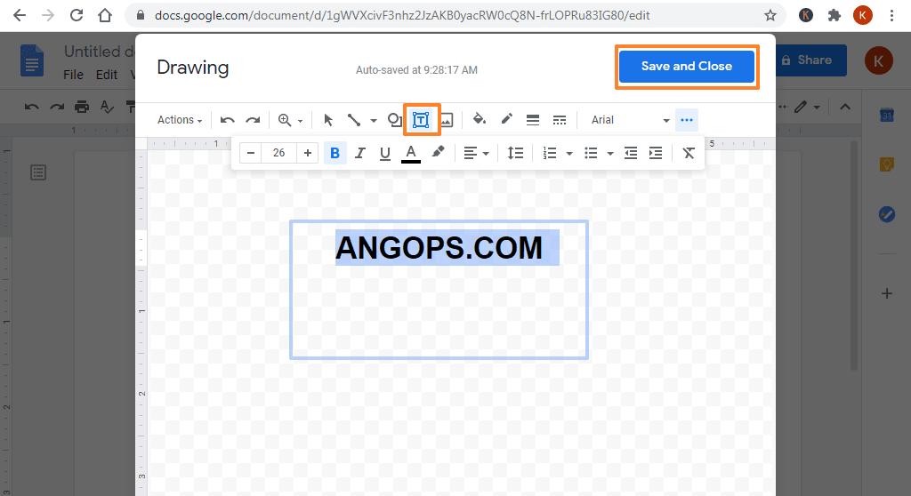 cara menyisipkan text box di google doc