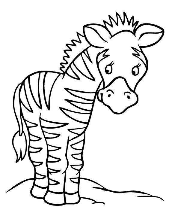 Tranh tô màu ngựa vằn dễ thương cho bé