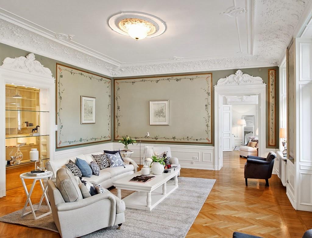 Klasyczny, elegancki salon i nowoczesna kuchnia - wystrój wnętrz, wnętrza, urządzanie domu, dekoracje wnętrz, aranżacja wnętrz, inspiracje wnętrz,interior design , dom i wnętrze, aranżacja mieszkania, modne wnętrza, styl klasyczny, styl nowoczesny, salon