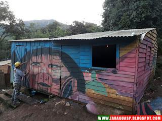 Intervenção no TI Jaraguá contou com artistas brasileiros e chilenos