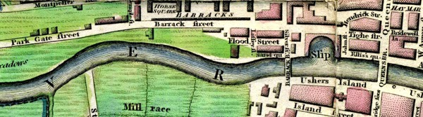 A Dublin map showing Benburb Street or Barrack Street as it then was