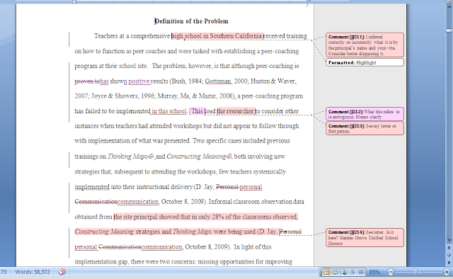 Microsoft Word document depicting the type of comments one will receive from their Form and Style Review