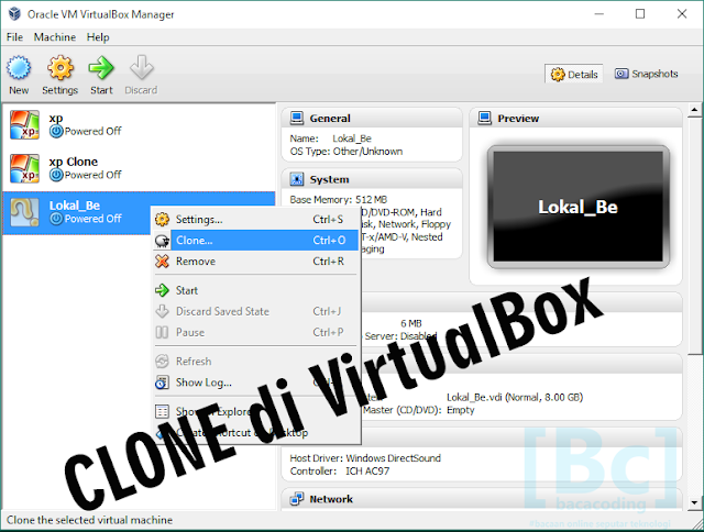 clone di virtualbox
