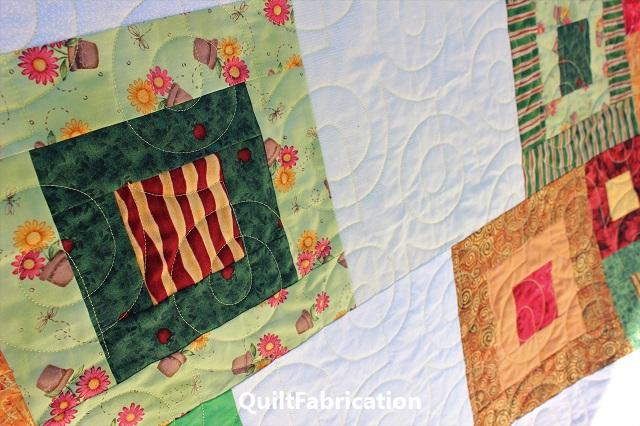 Bebop pantograph quilting on Zen Garden quilt