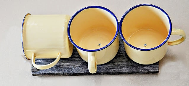 yellow enamelware mugs
