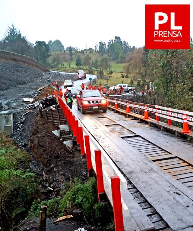 Puente Pelelfu habilitado para vehículos