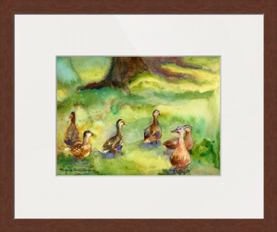Pepsico Ducks by watercolor artist Miriam Schulman ©SchulmanArt collect duck paintings https://www.etsy.com/shop/SchulmanArts/search?search_query=ducks&order=date_desc&view_type=list&ref=shop_search