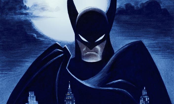 Imagem de capa: uma ilustração do Batman, em desenho, com a capa preta, erguendo-se na noite, as orelhas pontudas da sua máscara de morcego, a lua cheia por trás e os prédios de Gotham, embaixo.