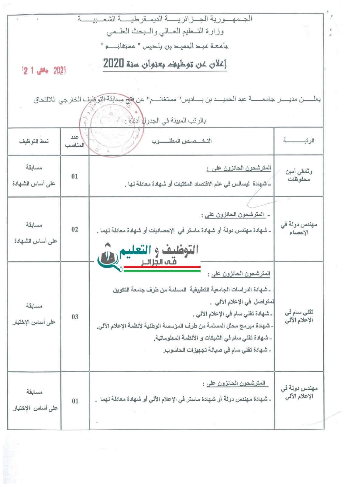 اعلان توظيف بجامعة عبد الحميد بن باديس بمستغانم 24 جانفي 2021