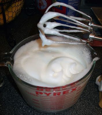 Whipped egg whites.