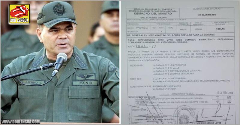 Padrino López ordenó a todos los oficiales a informar cada movimiento que hagan