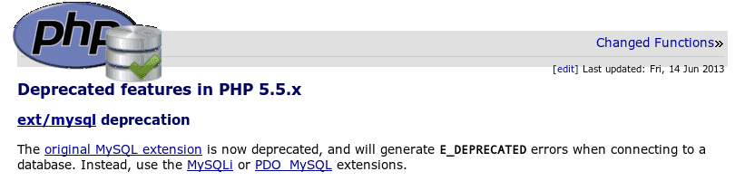 The MySQL Extension is Deprecated And Will Be Removed From PHP Programming