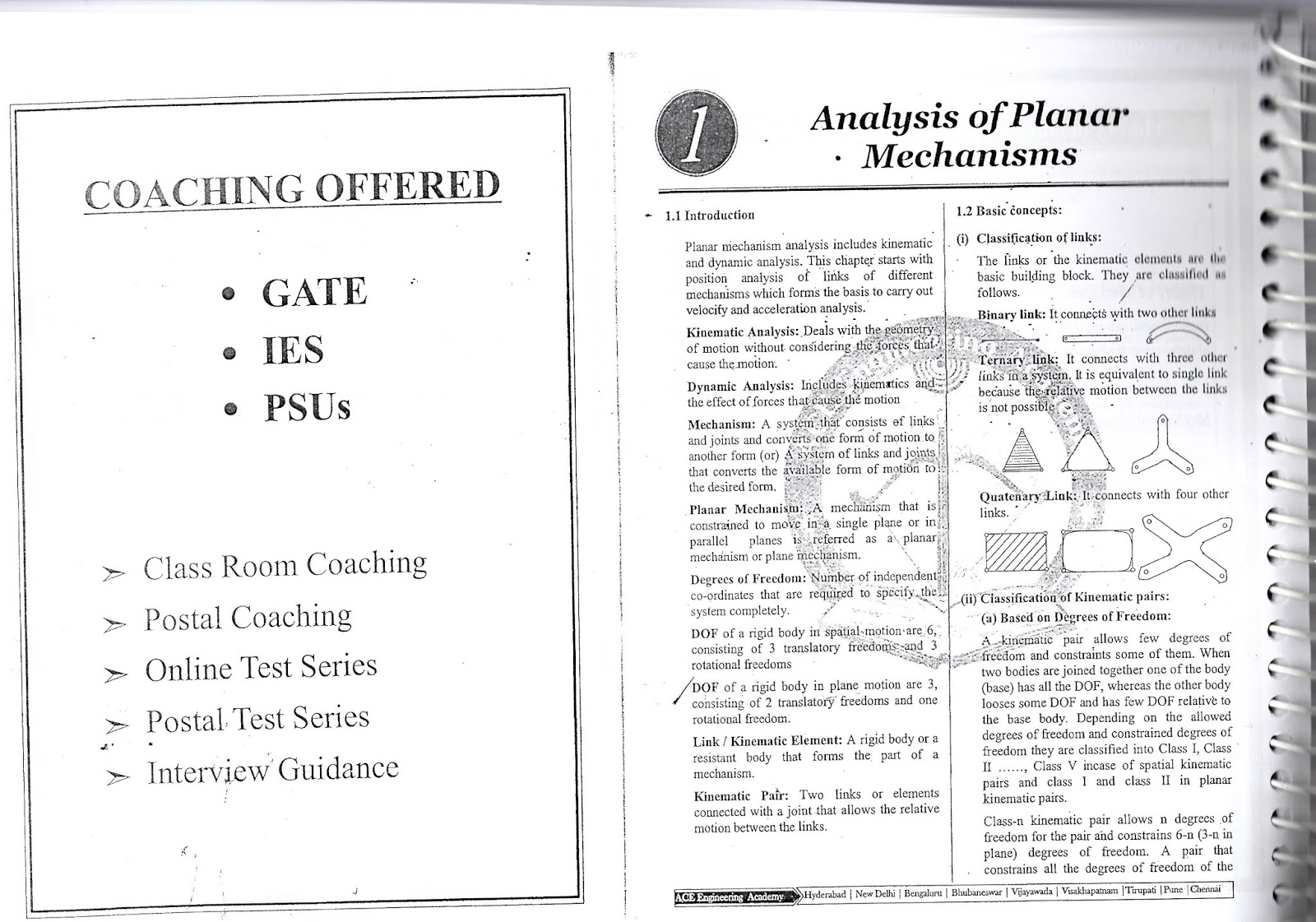 THEORY OF MACHINES AND VIBRATIONS ACE ACADEMY GATE STUDY