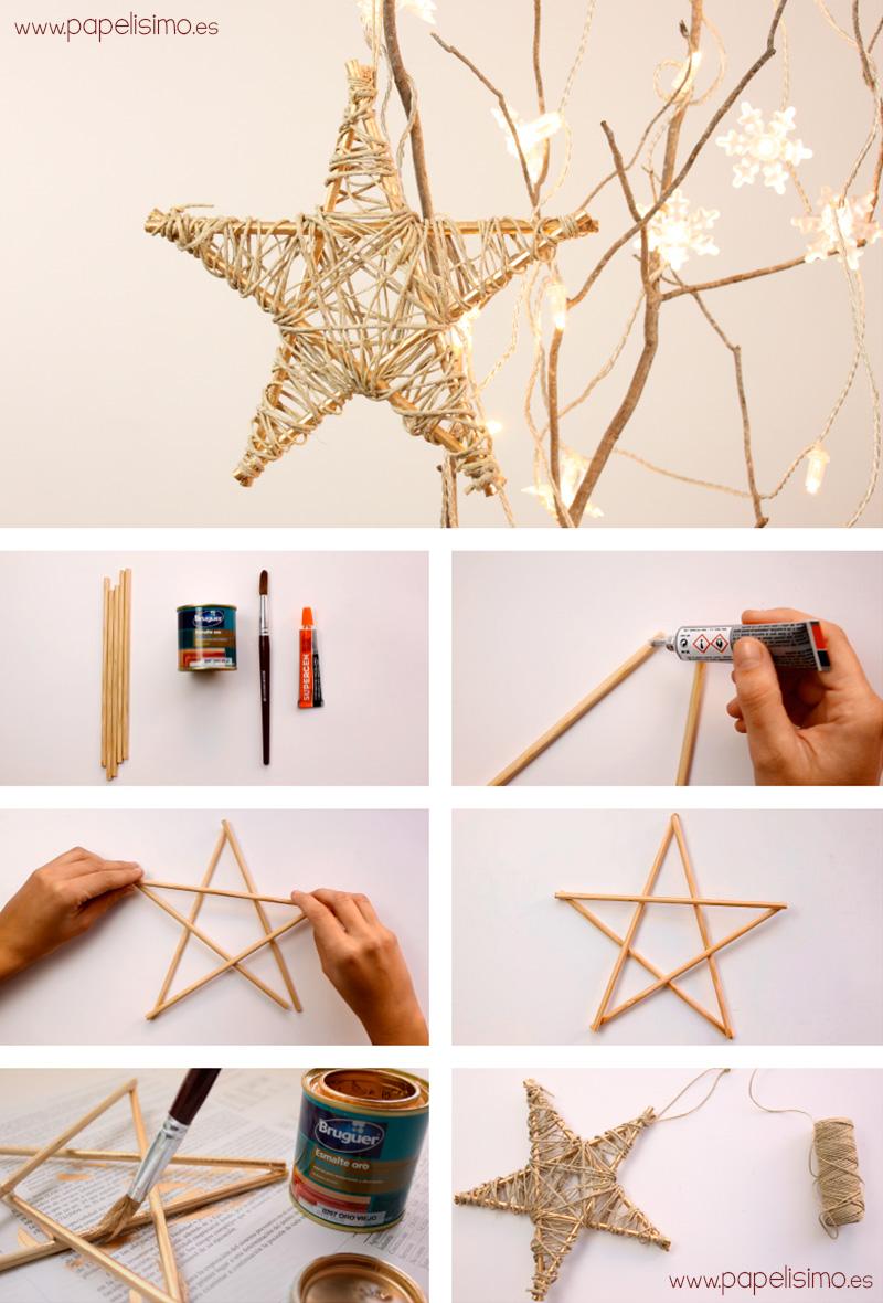 Estrela artesanal para enfeitar a árvore de natal