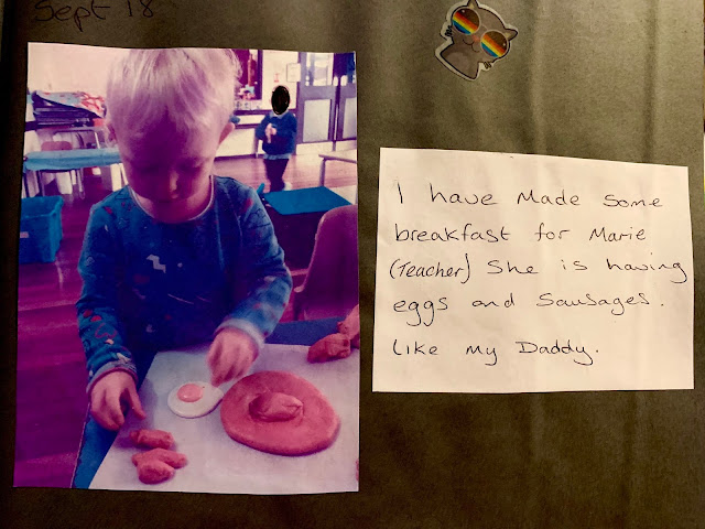 "Notes from nursery saying ""I have made some breakfast for Marie (teacher) she is having eggs and sausages like my Daddy"
