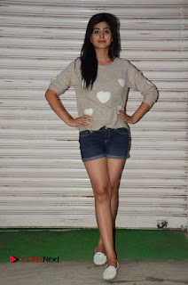 Actress Model Shamili (Varshini Sounderajan) Stills in Denim Shorts at Swachh Hyderabad Cricket Press Meet  0031.JPG