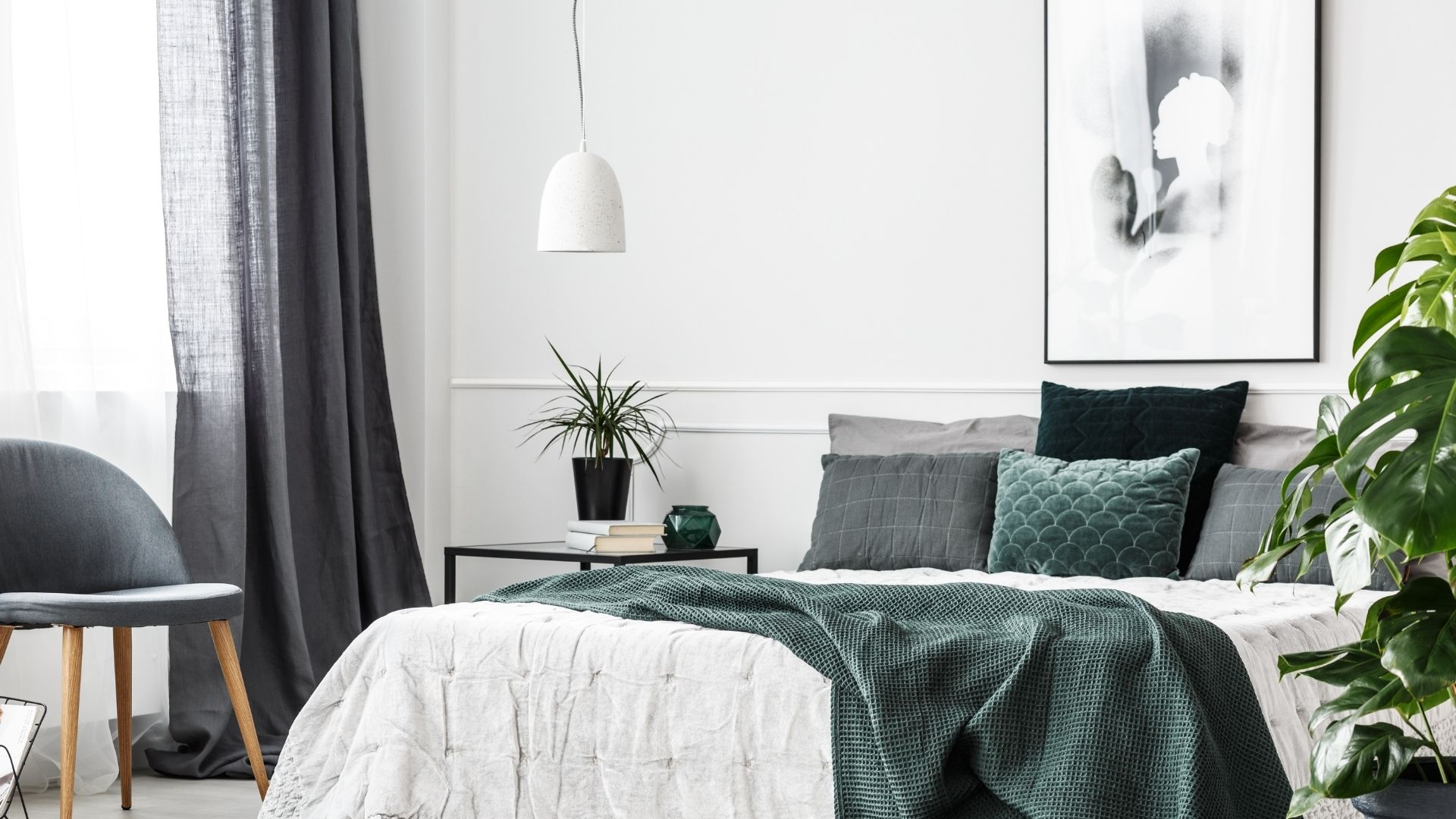 sypialnia kolor zielony