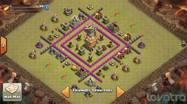 Formasi Base Town Hall 7 Clan Wars Dengan 3 Air Defense