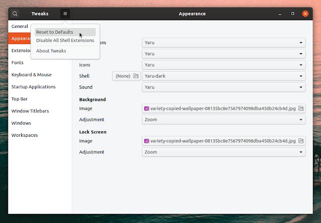 GNOME Tweaks reset settings to default