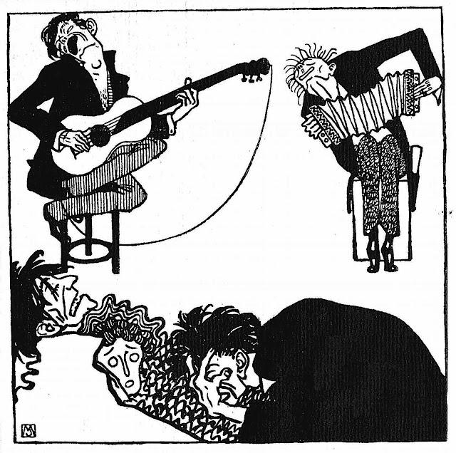 a Moriz Jung Wiener Werkstätte 1907 card showing bad musicians torturing an audience