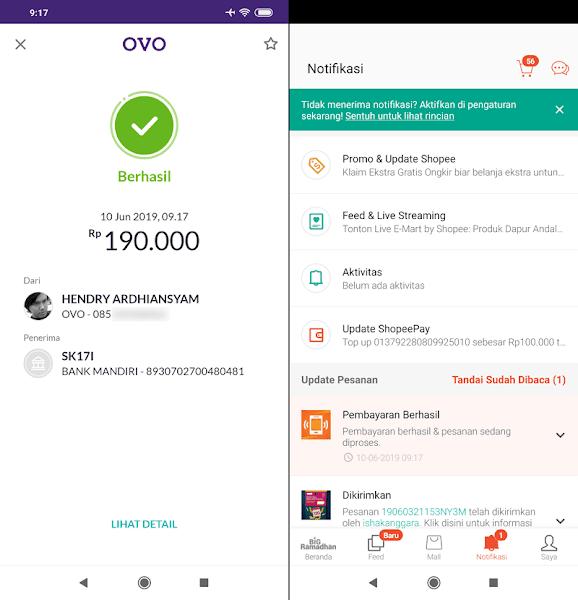 Transfer berhasil OVO Shopee