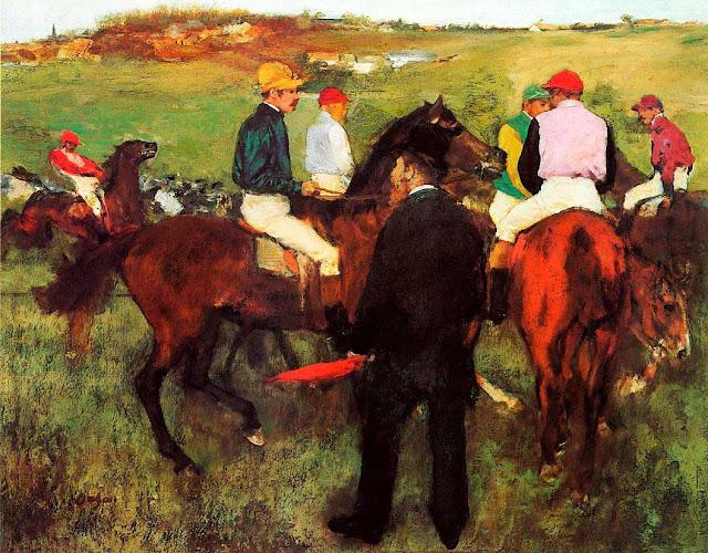 Эдгар Дега - Скаковые лошади на longchamp (1875)