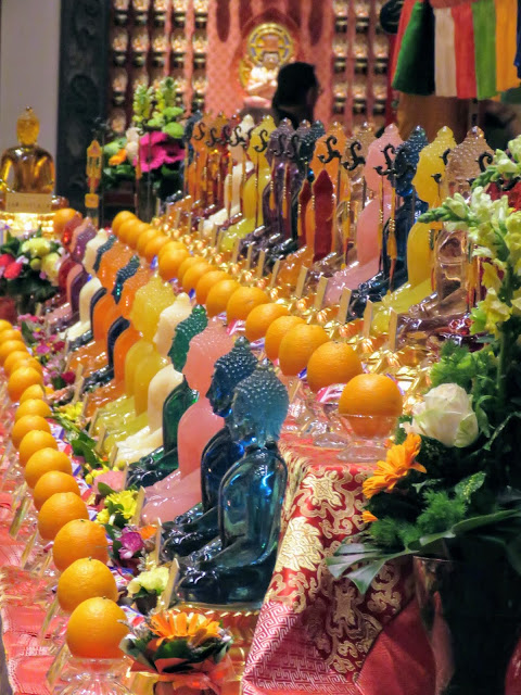 Glass Buddhas at the Buddha Tooth Relic temple in Singapore
