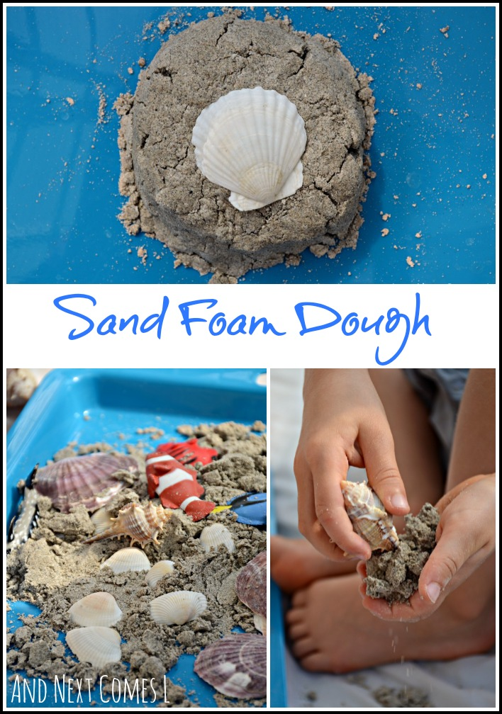 Ocean sensory play for kids using new sand foam dough recipe from And Next Comes L
