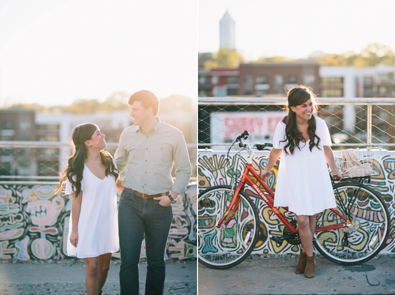 engagement pictures on the atlanta beltline at the north avenue bridge