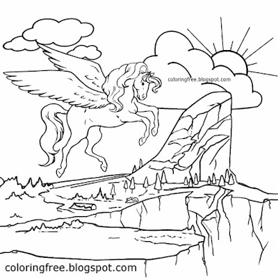 Kids wonderful dream realm magic land unicorn flying mythical animals Pegasus fantasy coloring pages