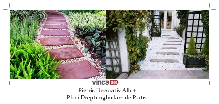 Pietris decorativ alb