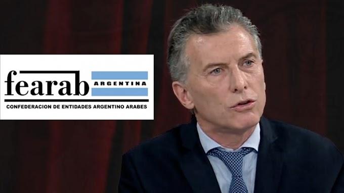 """Mensaje de FEARAB al gobierno argentino que declarará """"terrorista"""" al grupo Hezbolá."""