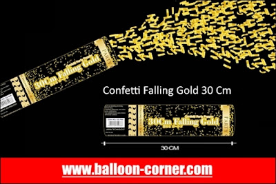 Party Popper Falling Gold / Confetti Falling Gold Ukuran 30, 40, 50, 60, 80, 100 Cm (GROSIR)